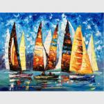 Abstract Sailing Ship Oil Painting by palette knife / Hand Painted Thick Oil Painting