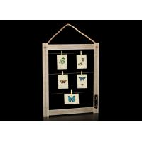 Rustic Wall Deco Wooden Picture Frame With Clips And Rope In Antique Brown
