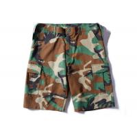 China Woodland Ripstop Men's Camo Tactical Cargo Shorts Wearfirst With Three Big Belt Loops on sale
