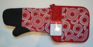 China Kitchen Pro 2-Piece Oven Mitts , Red / White Pot Holder Set With Neoprene on sale