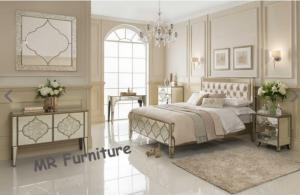 Quality Unique Mirror Furniture Set For Bedroom Venetian Design Queen Size Bed for sale