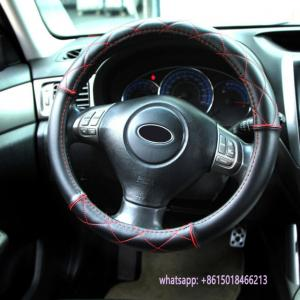China special design black leather car interior accessories steering wheel cover on sale