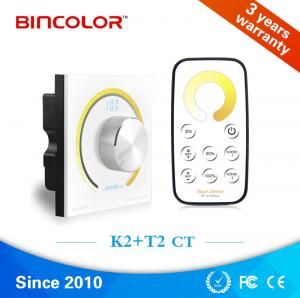 China Wireless rf remote control digital display white and warm white led dimmer controller with rotary knob on sale