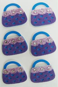 China Screen printed purple bag Fuzzy Stickers / decora Rhinestone Stickers Fancy on sale