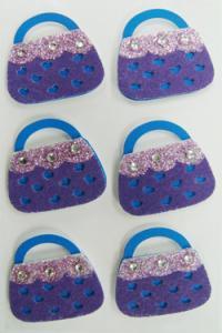 China Screen printed purple bag Fuzzy Stickers / decora Rhinestone Stickers Fancy on sale