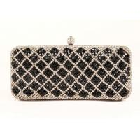 China Black Diamond Rhinestone Evening Bags Plaid Pattern And Velvet Lining For Dinner Party on sale