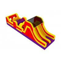 Colorful Outdoor Inflatable Obstacle Course With Slide And Climb 0.55mm PVC Tarpaulins