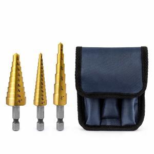 China 3 Piece Titanium Hss Step Drill Bit Set Hex Shank 1/8 - 3/4 With Storage Bag on sale
