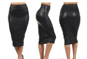 China Autumn Faux Leather Pencil Skirt Black Leather skirtS Casual PU High Waisted saia de couro on sale