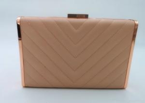 China Elegant Quilted Metallic Clutch Bag , Faux Leather Rose Gold Chain Hand Clutch Purse on sale