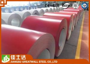 China ASTM Standard SMP Red Prepainted Steel Coil for Wall , 914mm Width on sale