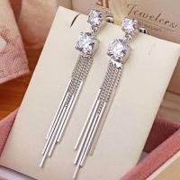 Fashion jewelry -zircon earring plating 14K glod & rhodium,copper+zircon,for gift ,party jewelry