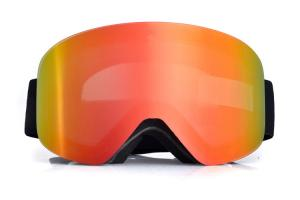 China 2019 winter season magnetic ski goggles with good price and good quality, glossy white black strap with customzied color on sale