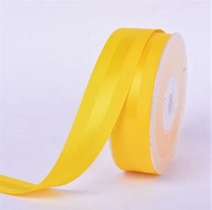 China Yellow flower decoration printing printed Grosgrain polyester printed fabric satin ribbon for label printer on sale