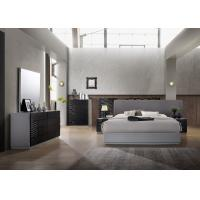 Black And Grey Glossy Painted Contemporary Bedroom Furniture Strong Structure