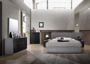 China Black And Grey Glossy Painted Contemporary Bedroom Furniture Strong Structure supplier
