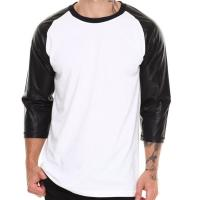 China Blank tshirt 3/4 leather sleeves for wholesale t shirt price china on sale