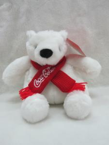 China Coca Cola Polar Bear Stuffed Animal Christmas Plush Toys 16cm Size on sale