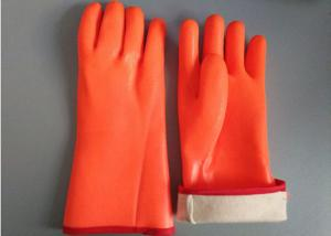 China Fluorescent Double Dipped PVC Gloves 35cm Length With Foam Insulated Liner on sale