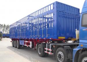 China 40 T Stake Cargo trailer with fence and 3 axles , flat bed trailer transport bulk cargo on sale