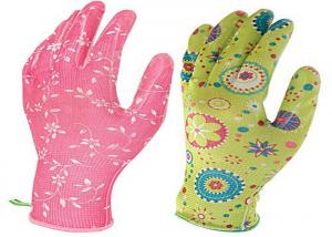 China Flower Printed Floral Gardening Gloves , Nitrile Palm Coated Gloves on sale