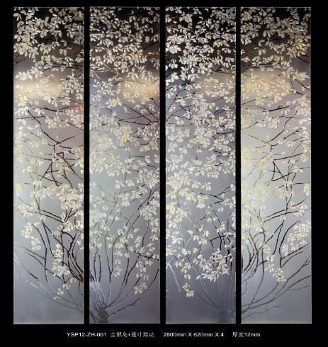 Gold foil decorative glass panels for doors leaf pattern for Decorative tempered glass panels