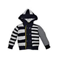 China Unisex White Striped Anti- Piling fabric Hooded Sweaters / Baby Knitted Cardigans with cap on sale