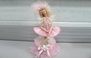 China Pink Small Porcelain Doll Music Box Victorian For Girls Gift on sale