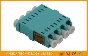 China Plastic Fiber Optic Connector Adapters LC Quad 4 Way No Ear OM3 10G Aqua on sale