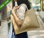 Customized Jute Tote Bags Fashion Large Reusable Shopping Bags for Women