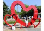 Outdoor Red Heart Sculpture Stainless Steel Contemporary Garden Art Decoration
