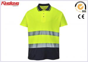 China Mens Fluorescent Yellow Reflective Safety Clothing / Hi Vis Polo Shirts on sale
