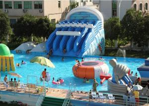 China Giant Metal Frame Pool , Above Ground Pool Water Slide For Amusement Park on sale