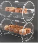 5 акриловый витринный шкаф пекарни, двойной контейнер дисплея барабанчика для хлеба