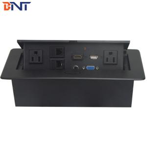 China Zinc Alloy Material Black Oval Corner Desk Pop Up Power Data Connector For Meeting Room on sale