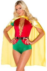 China Hero Costumes Wholesale Spandex Satin Red Green Sexy Sidekick Costume with size S to XXL on sale