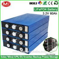 Chinese supplier 3.2V 60Ah LiFePO4 rechargeable deep cycle battery for solar wind UPS power bank