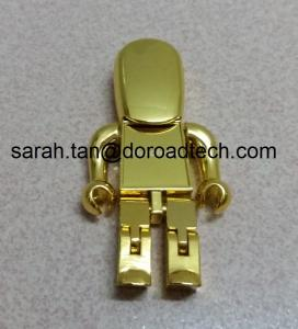 China High Quality Metal Gold Robot USB Flash Drive, Gift USB Drives with Laser Printing Logo on sale