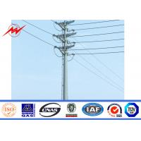 China Outdoor Tapered Transmission Line Steel Power Pole with Channel Steel Cross Arm on sale