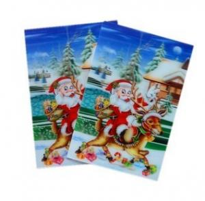 China Merry Christmas plastic 3d lenticular lens printing sticker flip animation Wall Sticker on sale