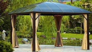 China Alum Metal Roof Gazebo Outdoor Pavilion Garden Gazebo Sunlight Board Garden Gazebo Metal Type Pavilion Park Leisure Tent on sale