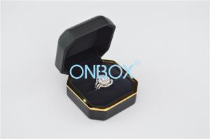 China Luxury Leather Jewelry Boxes For Single Finger Ring With LED , Light Box Display Box on sale