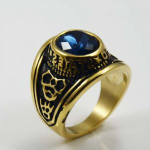 China Plated Gold Stainless Steel Custom Gemstone Ring For Men on sale