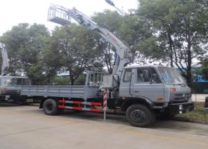 China best price dongfeng RHD 5tons XCMG brand folded boom mounted on truck, DONGFENG 4*2 RHD 5tons knuckle crane with truck on sale