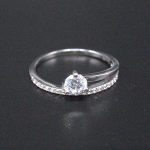 China Asymmetric 925 Silver Cubic Zirconia Rings / Plating Rhodium Silver Engagement Rings on sale