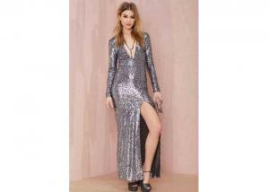 China Plunging Neckline Front Slit Evening Party Dresses with Silver Sequin on sale