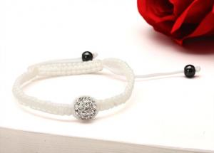 China High Quality Guarantee Clear Crystal Shamballa Bead Bracelet with White Rope NP10047-001 on sale