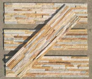 China New Oyster Split Face Slate Stone Cladding,Yellow Quartzite Mini Stacked Stone,Natural Culture Stone on sale