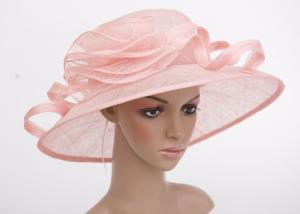 China Light Pink Flower Cascade Womens Church Hats , Sinamay Ladies Hat With 11cm Brim supplier