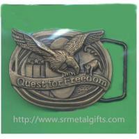 Vintage retro metal antique brass American eagle emblem men